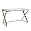 Polished Stainless Steel Desk With Beveled Glass Top. Product Image