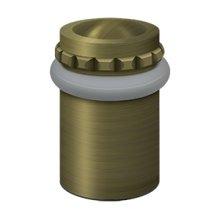 """Round Universal Floor Bumper Pattern Cap 2"""", Solid Brass - Antique Brass"""