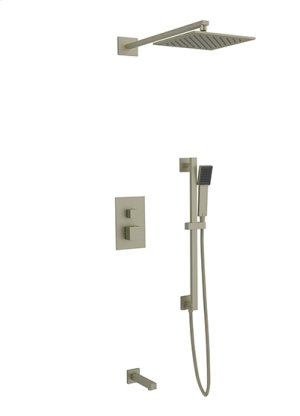 Rain Head + Slide Bar Hand Held + Tub Spout SQU - Brushed Nickel Product Image
