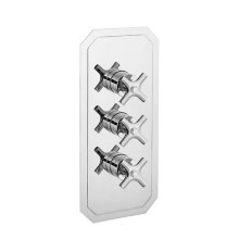 Waldorf 3000 Thermostatic Valve Trim with Integrated Volume Control/Two-way Diverter and Cross Handles - Polished Chrome