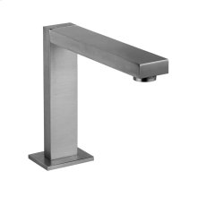 """Deck-mounted washbasin spout only with pop-up assembly Spout projection 5-5/8"""" Height 6-1/4"""" 1/2"""" connections Includes drain Requires mixer control 27115, 27117, or 27119 Max flow rate 1"""