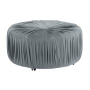 Round Ottoman, Gray Product Image