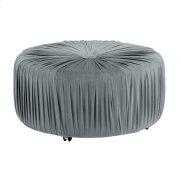 Round Ottoman, Gray Product Image