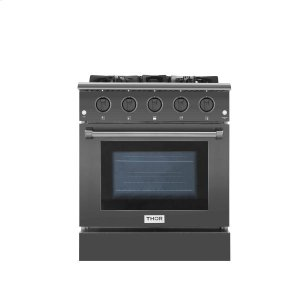 30 Inch Professional Gas Range In Black Stainless Steel -