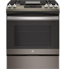 "GE® 30"" Slide-In Front Control Gas Range"
