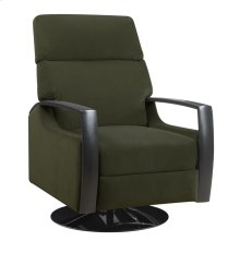 Swivel Recliner Kd Carbon Gray W/black Wood Arms