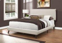 BED - QUEEN SIZE / BEIGE LINEN WITH BROWN WOOD LEGS