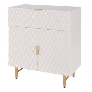 Reggie KD Geometric Small Cabinet 1 Drawer + 2 Doors Gold Legs, Glossy White