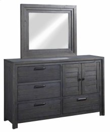 Door Dresser \u0026 Mirror - Distressed Dark Gray Finish