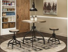 Sunset Trading 3 Piece Industrial Revolution Adjustable Height Dining Set - Sunset Trading