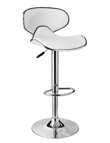 White Adjustable PU Barstool