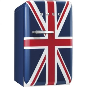 50's Retro Style Mini Refrigerator, Union Jack, Right hand hinge