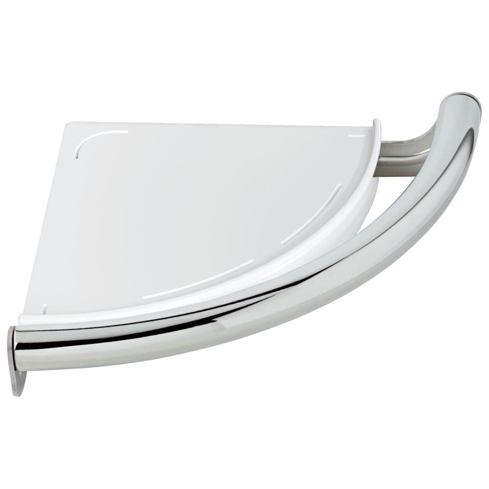 Chrome Contemporary Corner Shelf with Assist Bar