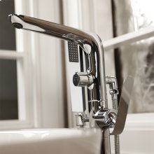 Floor-standing single-hole tub filler with single lever handle, two-way diverter, and hand-held shower with 59-inch flexible hose.