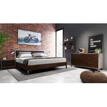 Nova Domus Conner Modern Dark Walnut & Concrete Bedroom Set