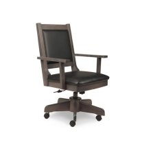 Modern Office Chair with Gas Lift, Tilt, Swivel Base, in Leather