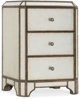 Arabella Mirrored Three-Drawer Nightstand