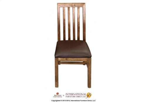 Chair w/Vertical Slats, Bonded Leather Seat