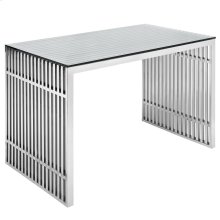 Gridiron Stainless Steel Office Desk in Silver