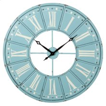 Sky Blue & White Roman Numeral Wall Clock.