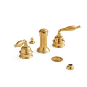 Satin Brass Grey Series I Lever Four Hole Bidet