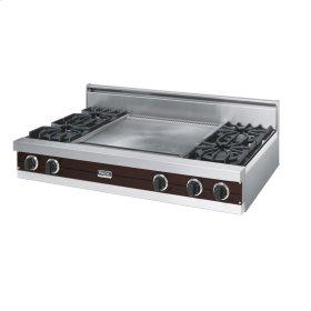 "Chocolate 48"" Open Burner Rangetop - VGRT (48"" wide, four burners 24"" wide griddle/simmer plate)"