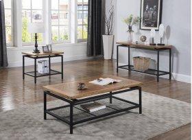 Emerald Home Magnolia Sofa Table-wood Top-black Metal Base-mesh Shelf T549-02