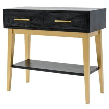 Leonardo KD Console Table 2 Drawers Gold Legs, Black Wash *NEW*