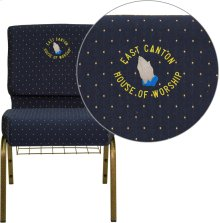 Embroidered HERCULES Series 21''W Church Chair in Navy Blue Dot Patterned Fabric with Book Rack - Gold Vein Frame
