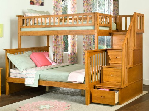 Columbia Staircase Bunk Bed Twin over Full in Caramel Latte