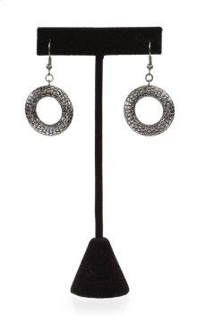 BTQ Mixed Metal Mesh Ring Earrings - Antique Silver
