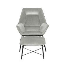 Modern Milan Chair & Ottoman - Silver