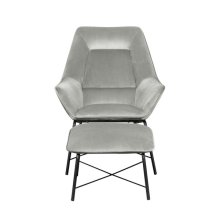 Modern Velvet Chair and Ottoman Set in Silver