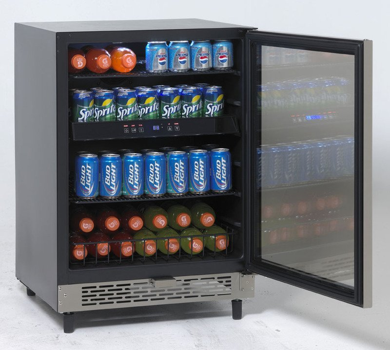 Beverage Cooler With Glass Door In Black Cabinet With Glass Door And