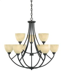 9 Light Chandelier in Burnished Bronze