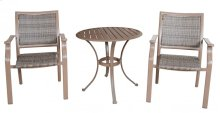Island Cove Woven 3 PC Slatted Dining Bistro Arm Chair Set