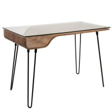 Avery Desk - Black Metal, Walnut Wood, Clear Glass