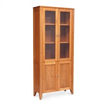 Justine Bookcase, Glass Doors on Top, Wood Doors on Bottom, 2-Adjustable Shelves