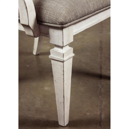 Elizabeth - Upholstered Arm Chair - Smokey White Finish