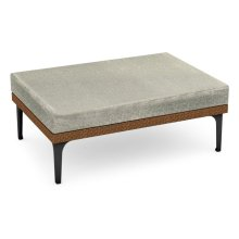 """42"""" Outdoor Tan Rattan Square Ottoman Sectional, Upholstered in Standard Outdoor Fabric"""