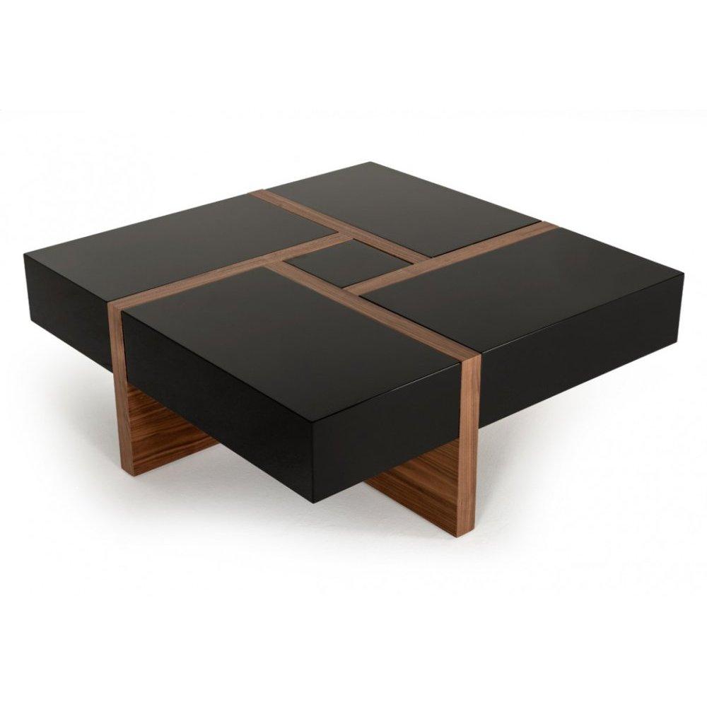 Modrest Makai Modern Black & Walnut Coffee Table