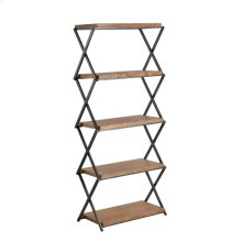 Wood & Metal Accordian 5 Shelf Stand, Brown Kd