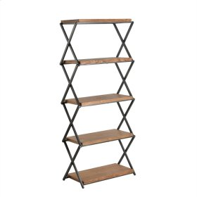 Wood & Metal Accordian 5 Shelf Stand, Brown Kd