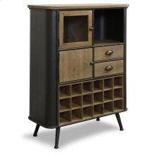 Black Metal and Wood Wine Cabinet  44in X 32in X 14in  Wine Cabinet