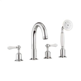 Belgravia White Lever Deck Mount 4 Hole Tub Faucet with Handshower - Polished Chrome