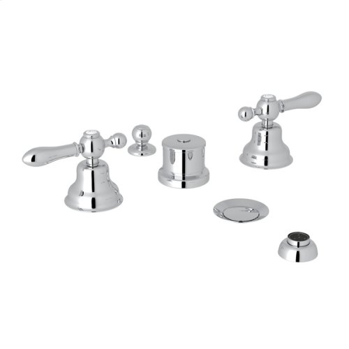 Polished Chrome Arcana Five Hole Bidet Faucet with Arcana Series Only Classic Metal Lever