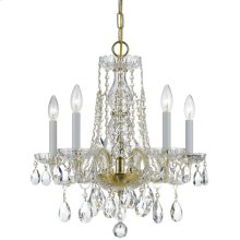 Traditional Crystal 5 Light Clear Crystal Brass Mini Chandelier