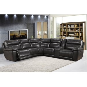 Leather Italia Usa 2490 Martin Sectional Armles Chair 1202lv Grey