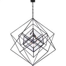 Visual Comfort KW5022AI-CG Kelly Wearstler Cubist 5 Light 45 inch Aged Iron Pendant Ceiling Light, Kelly Wearstler, Large, Chandelier, Clear Glass