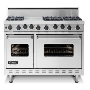 "White 48"" Sealed Burner Dual Fuel Range - VDSC (48"" wide range with six burners, 12"" wide char-grill, double ovens)"